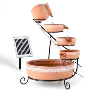 Blumfeldt Empoli, kaskádová fontána, terakota, 5 úrovní, 200 l/h, solární, 2 W, LED obraz