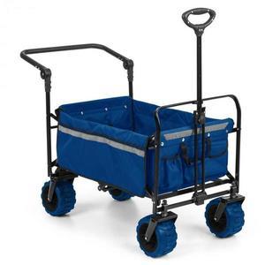 Waldbeck Easy Rider, tahací vozík, do 70 kg, teleskopická tyč, sklopný, modrý obraz