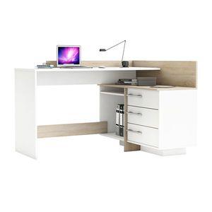 Psací stůl rohový THALES 484881 dub/bílá obraz