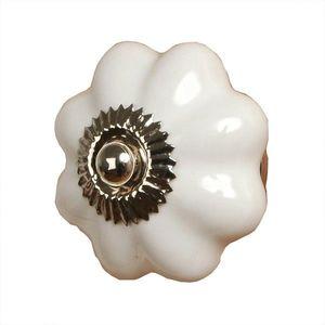 Keramická úchytka bílá květina - Ø 3, 5 cm obraz