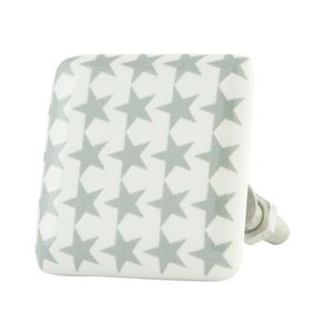 Čtvercová keramická úchytka s hvězdičkami - 3*3*5 cm obraz