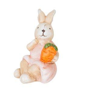 Dekorace sedící králíček s mrkvičkou - 5*7*9 cm obraz