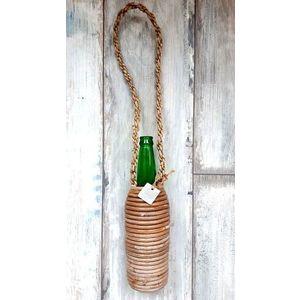 Skleněná zelená láhev na zavěšení - Ø 8*29 cm obraz