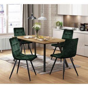 Jídelní stůl BERGEN dub + 4 židle BERGEN zelený samet obraz