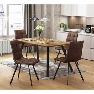 Jídelní stůl BERGEN dub + 4 židle BERGEN hnědé mikrovlákno obraz