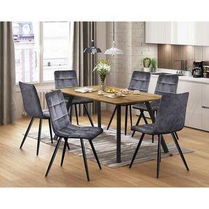 Jídelní stůl BERGEN dub + 6 židlí BERGEN šedý samet obraz