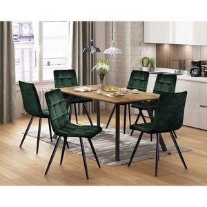 Jídelní stůl BERGEN dub + 6 židlí BERGEN zelený samet obraz