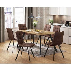 Jídelní stůl BERGEN dub + 6 židlí BERGEN hnědé mikrovlákno obraz