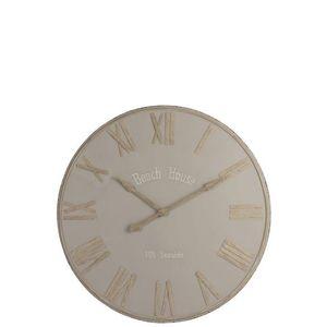 Béžové nástěnné kovové hodiny Beach House - Ø92cm obraz