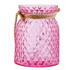 Růžový svícen na čajovou svíčku - Ø 12*15 cm obraz