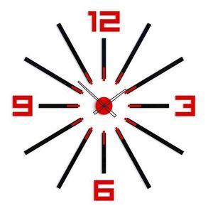 Mazur 3D nalepovací hodiny Big Sheen černo-červené obraz