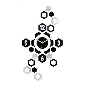 Mazur 3D nalepovací hodiny Hexagon černo-zrcadlové obraz