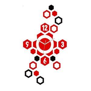 Mazur 3D nalepovací hodiny Hexagon červené-černé obraz