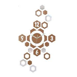 Mazur 3D nalepovací hodiny Hexagon měděné obraz