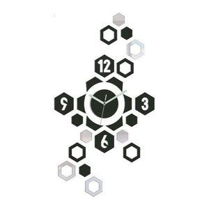 Mazur 3D nalepovací hodiny Hexagon wenge obraz