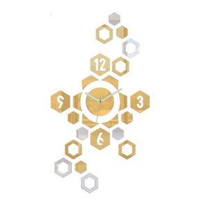 Mazur 3D nalepovací hodiny Hexagon zlato-zrcadlové obraz
