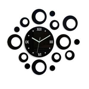 Mazur 3D nalepovací hodiny Rings černé obraz