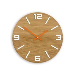 Mazur Nástěnné hodiny Arabic hnědo-bílo-oranžové obraz
