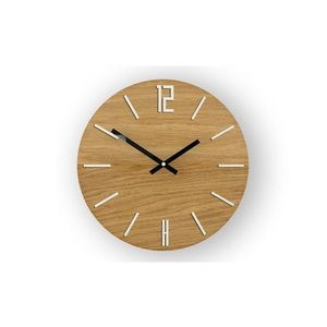 Mazur Nástěnné hodiny Carlo Wood hnědo-bílé obraz