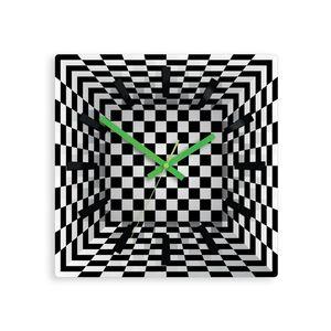 Mazur Nástěnné hodiny Ilusion černo-bílé obraz