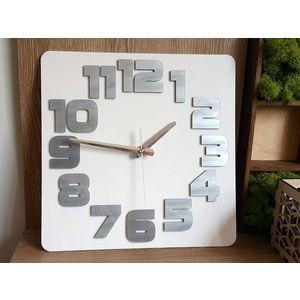 Mazur Nástěnné hodiny Logic bílo-šedé obraz
