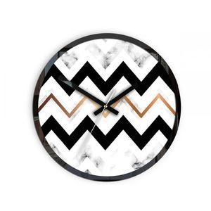 Mazur Nástěnné hodiny Marble černo-bílé obraz