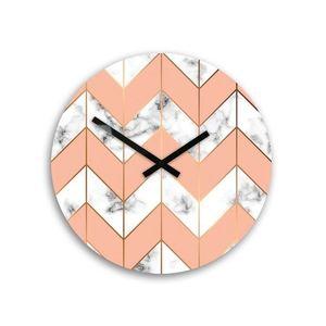 Mazur Nástěnné hodiny Mramor bílo-růžové obraz