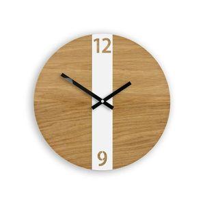 Mazur Nástěnné hodiny Oak Belt hnědo-bílé obraz