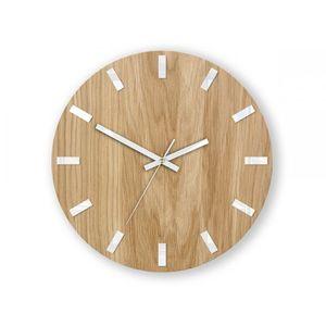 Mazur Nástěnné hodiny Simple Oak hnědo-bílé obraz