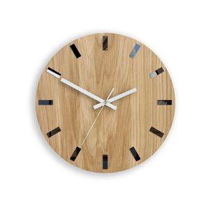 Mazur Nástěnné hodiny Simple-W hnědo-bílé obraz