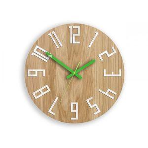 Mazur Nástěnné hodiny Slim hnědo-zelené obraz