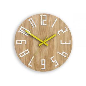 Mazur Nástěnné hodiny Slim hnědo-žluté obraz