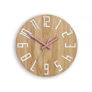Mazur Nástěnné hodiny Slim hnědé obraz