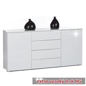 Komoda SPICE 3 extra bílá vysoký lesk Tempo Kondela obraz