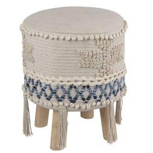 Modro-krémová stolička - podnožka Denim - 30*45cm obraz