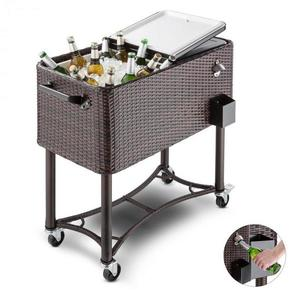 Blumfeldt Springbreak 2000, vozík na nápoje, chladící vozík na terasy, 80 l, ratanový design obraz