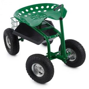 Waldbeck Park Ranger, zahradní vozík, 130 kg, pojízdný, odkládací prostor, ocel, zelený obraz
