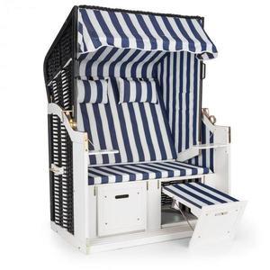 Blumfeldt Hiddensee, plážové sezení, plážový koš XL, dvousedadlo, lehátko, borovice, modré/bílé, pruhovaný motiv obraz