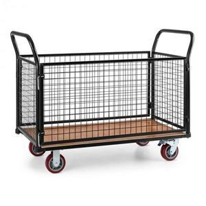 Waldbeck Loadster, mřížkový vozík, pojízdný, skladový vozík, max. 500 kg, dřevěný spodek, černý obraz