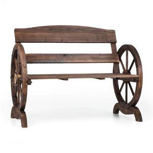 Blumfeldt Ammergau, zahradní lavice, dřevěná, kola vozu, 108 x 65 x 86 cm, jedlové opalované dřevo obraz