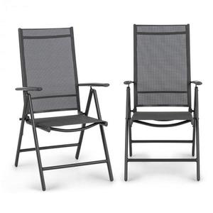 Blumfeldt Almeria Garden Chair, skládací židle, sada 2 kusů, 56, 5 x 107 x 68 cm, Comfortmesh, antracitová obraz