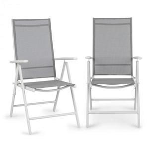 Blumfeldt Almeria, skládací židle, sada 2 kusů, 59, 5 x 107 x 68 cm, Comfortmesh, hliník/bílá obraz