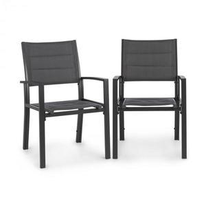 Blumfeldt Torremolinos, zahradní židle, 2ks, hliník, ComfortMesh, tmavěšedé obraz