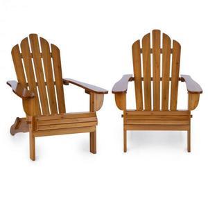 Blumfeldt Vermont, set zahradních židlí, 2 ks, adirondack, 73 x 88 x 94 cm, sklopitelné, hnědé obraz