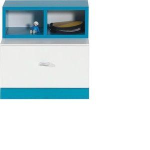 MEBLAR noční stolek MARIO 17, bílá/tyrkysová 40x40x35 bílá lux / tyrkys obraz