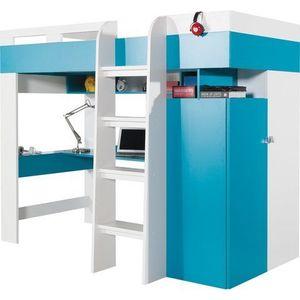 MEBLAR vývýšená postel s PC stolem MARIO 20, bílá/tyrkysová 117x165x205 bílá lux / tyrkys obraz