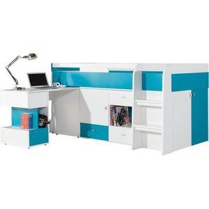 MEBLAR vývýšená postel s PC stolem MARIO 21 115, 5x105, 5x205 bílá lux / tyrkys obraz