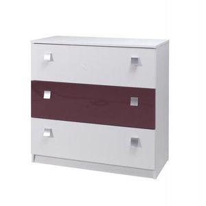 MARIDEX komoda LAVERN, bílá/fialový lesk 92x88x40 bílá / fialový lesk obraz