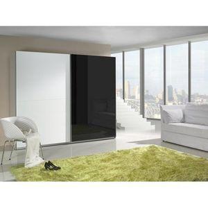 MARIDEX skříň LAVERN 240, bílá/černý lesk 244x206x64 bílá / černý lesk obraz