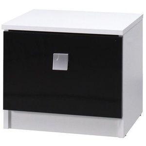 MARIDEX noční stolek LAVERN, bílá/černý lesk 61x36x35 bílá / černý lesk obraz